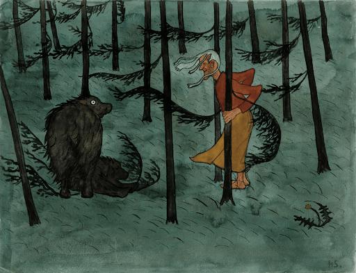 Nainen ja karhu.